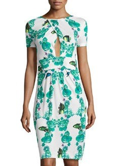 M Missoni Fish-Print Cross-Front Dress, White/Multi