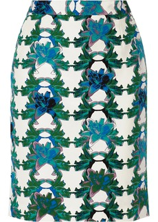 M Missoni Floral-print cotton and silk-blend pencil skirt