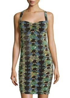 M Missoni Floral Ruched Crisscross-Back Dress, Black/Multi