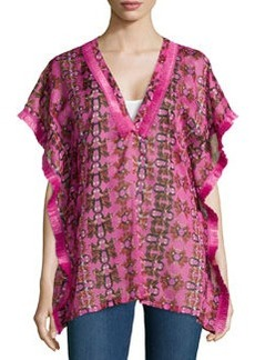 M Missoni Fringe-Detail V-Neck Blouse, Pink Multi