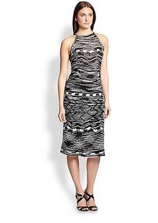 M Missoni Geometric-Striped Halter Dress
