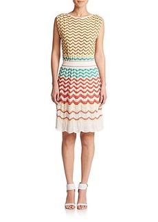 M Missoni Greek Key Ruched Shoulder Knit Dress