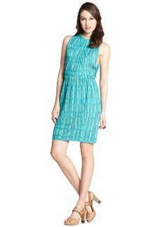 M Missoni green diamond print cotton blend knit sleeveless dress