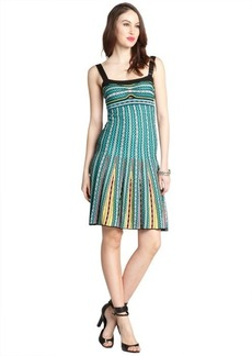 M Missoni green multi-color cotton blend knit beaded tank dress
