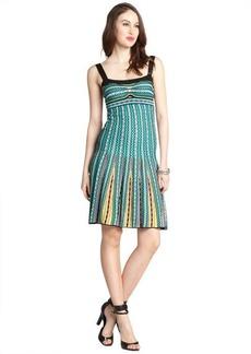M Missoni green multi-color cotton blend knit beaded tank dress