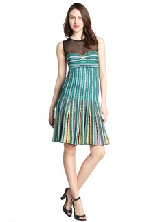 M Missoni green multi-color crochet sheer panel sleeveless dress