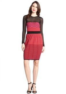 M Missoni hot pink cotton blend mesh cutout knit pattern long sleeve dress