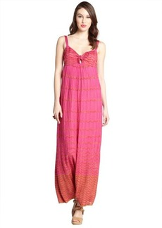 M Missoni hot pink cotton blend wave knit knot neck dress