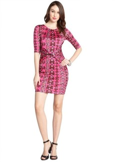 M Missoni hot pink stretch floral print three-quarter sleeve dress
