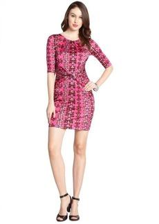M Missoni hot pink stretch floral print three-quarter sleeve dress