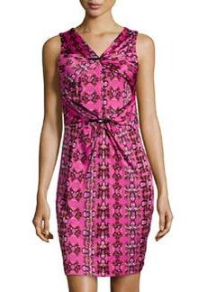 M Missoni Kaleidoscope-Print Gathered Dress, Fuchsia/Multi