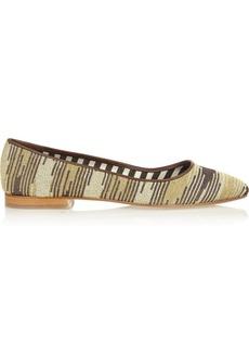 M Missoni Leather and metallic crochet-knit point-toe flats