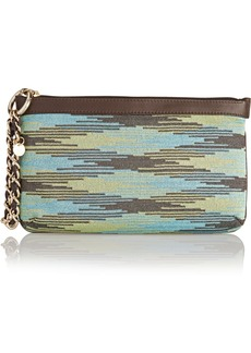 M Missoni Leather-trimmed crochet-knit clutch