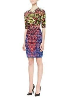 M Missoni Lizard-Print Jacquard Half-Sleeve Dress