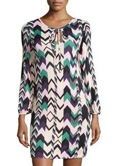 M Missoni Long-Sleeve Printed Dress W/ Tie, Multicolor