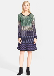 M Missoni Long Sleeve Wave Knit Dress