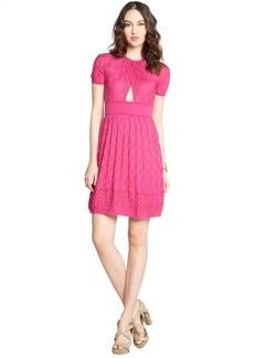 M Missoni magenta stretch cotton blend knit crewneck short sleeve dress