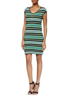 M Missoni Pebbled V-Neck Stretch Dress, Aqua
