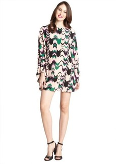 M Missoni pink and green chevron print silk canopy dress