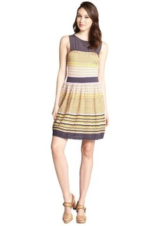 M Missoni pink chevron cotton blend knit and black chiffon dress