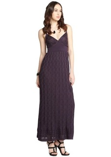 M Missoni plum stretch cotton blend sleeveless tank maxi dress
