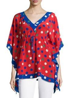 M Missoni Polka-Dot V-Neck Caftan Top, Red/Multi
