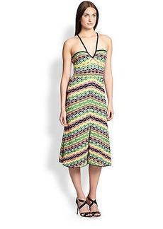 M Missoni Printed Crochet Halter Dress