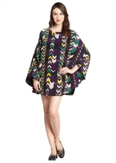 M Missoni purple and green chevron print silk canopy dress