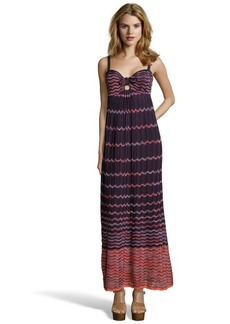 M Missoni purple and orange ombre wave print pleated maxi dress