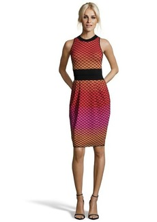 M Missoni red and orange stretch knit cut-out back sleeveless dress