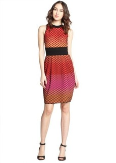 M Missoni red stretch cotton blend mesh back out sleeveless knit dress