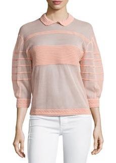M Missoni Ribbed Sheer 3/4-Sleeve Sweater, Blush