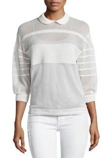 M Missoni Ribbed Sheer 3/4-Sleeve Sweater, White