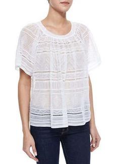 M Missoni Sheer Flutter-Sleeve Blouse, White
