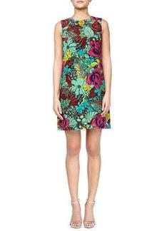 M Missoni Sleeveless Jungle Rose Silk Shift Dress, Mint/Multicolor