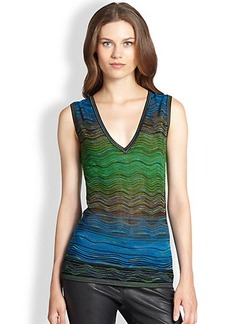 M Missoni Sleeveless V-Neck Ripple-Knit Tank
