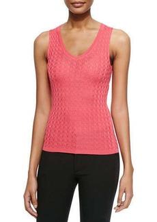 M Missoni Solid Chevron Knit Tank, Pink