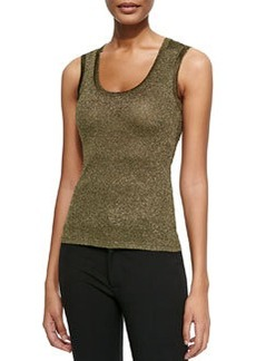 M Missoni Solid Metallic Scoop-Neck Tank, Olive