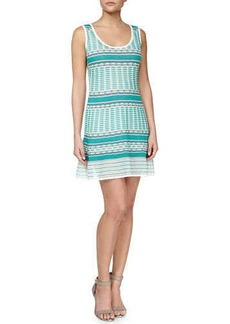 M Missoni Striped Tank Dress, Aqua/White