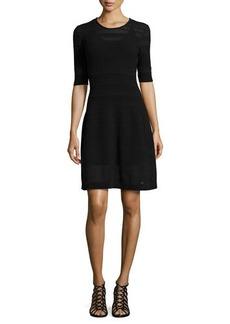 M Missoni Textured-Knit Fit-and-Flare Dress, Black