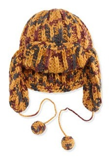 M Missoni Tri-Tone Knit Trapper Hat, Orange/Gray/Burgundy
