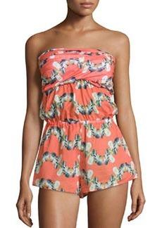 M Missoni Twisted Bandeau Short Jumpsuit, Coral