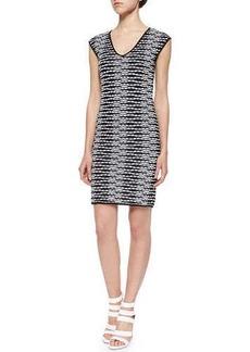 M Missoni V-Neck Dress W/ Pebble Chevron Stripes