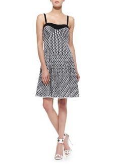 M Missoni Vertical Fan Tank Dress, Black/White/Gray