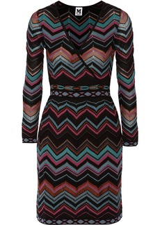 M Missoni Wrap-effect chevron-knit dress