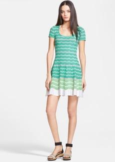 M Missoni Zigzag Cap Sleeve Flounce Dress