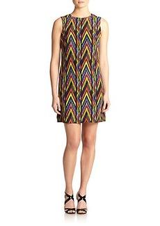M Missoni Zigzag-Print Silk Shift Dress