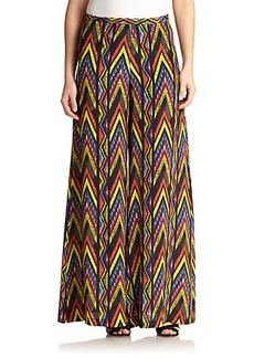 M Missoni Zigzag-Print Silk Wide-Leg Pants
