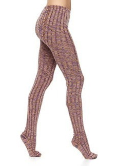 M Missoni Zigzag Ribbed Wool-Knit Leggings, Orange/Purple