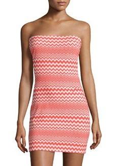 M Missoni Zigzag Strapless Sheath Dress, Orange/Pink